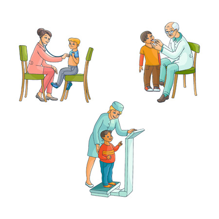 vector flat woman pediatrician cheking teen boy weight, male grey-haired doctor measuring child temperature, female doctor examining boy lungs sitting at chair. Isolated illustration, white background