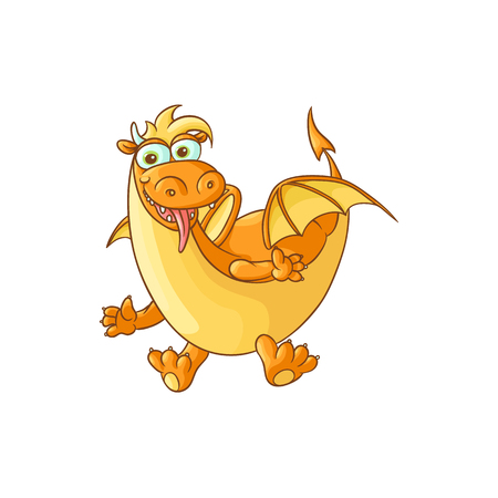 vector flat cartoon funny yellow dragon with horns and wings sticking out tongue. Isolated illustration on a white background. Fairy mysterious cute creature character for your design