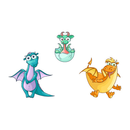 vector flat cartoon funny blue female and red adult, mature dragons with horns and wings and baby hatching from egg cute fairy dragon characters set. Isolated illustration on a white background.