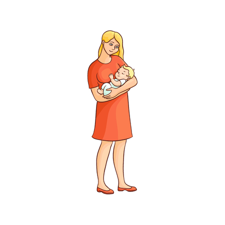 vector flat cartoon adult cute woman girl in red dress standing holding infant newborn baby toddler in hands smiling. Isolated illustration on a white background. Illustration