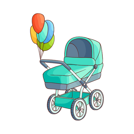 vector flat cartoon baby carriage or stroller, pram blue perambulator with congratulatory air balloons. Isolated illustration on a white background. Иллюстрация