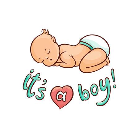 Vector flaches Karikaturart neugeborenes nettes Säuglingsbabykleinkind in der Windel oder Windelschlafen, die auf seinem zurück liegen, sein eine Jungenaufschrift. Getrennte Abbildung auf einem weißen Hintergrund. Standard-Bild - 87535176