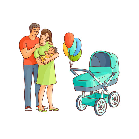 vector flat adult couple and infant, baby stroller with air balloons. Isolated illustration on a white background. Flat family characters. Adult smiling man, cute woman in green dress, newborn baby Illustration