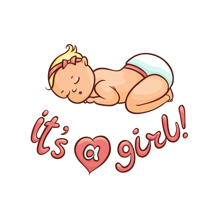 vector flat cartoon style newborn cute infant baby boy toddler in diaper or nappy sleeping lying on his back, its a girl inscription. Isolated illustration on a white background.