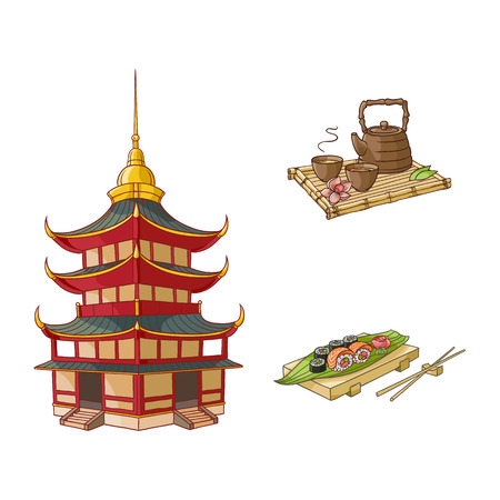 vector flat asian japan, china oriental symbols concept set. traditional pagoda building, sushi with ginger, wasabi and kettle with caps for tea ceremony. Isolated illustration on a white background.