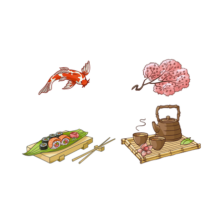 vector flat asian japan, china oriental symbols set. traditional koi carp fish, sakura branch. sushi with ginger, wasabi, kettle with caps for tea ceremony. Isolated illustration on a white background Stock Vector - 87535181