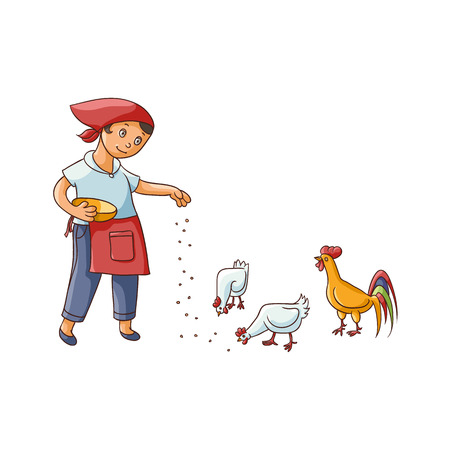 vector flat cartoon young teen girl feeding domestic birds - chickens and rooster. Children at farm concept. Isolated illustration on a white background. Illustration