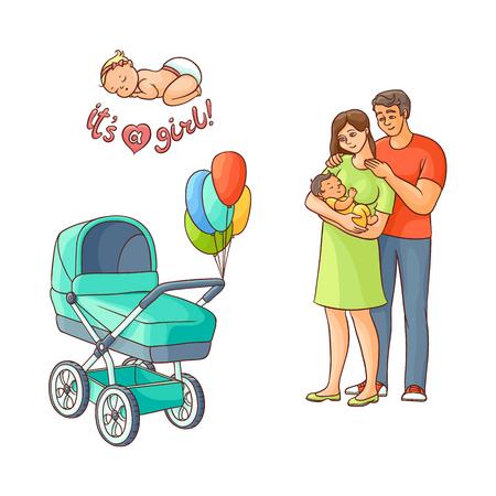Vektor flach erwachsenes Paar und Kind, Kinderwagen mit Luftballons. Getrennte Abbildung auf einem weißen Hintergrund. Flache Familienzeichen. Erwachsener lächelnder Mann, nette Frau im grünen Kleid, neugeborenes Baby Standard-Bild - 87535184