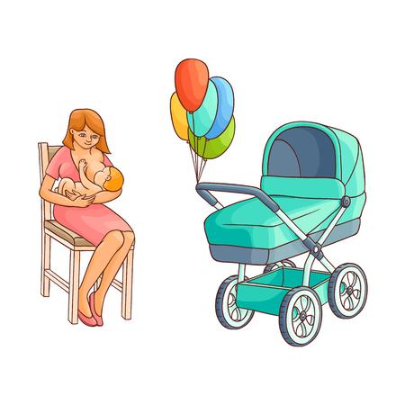 Vektor flache Cartoon Erwachsene süße Frau Mädchen in lila Kleid sitzt am Stuhl mit Kleinkind Neugeborenen Kleinkind auf den Knien in der Nähe von Kinderwagen, Kinderwagen lächelnd. Isolierte Darstellung auf einem weißen Hintergrund. Standard-Bild - 87535186