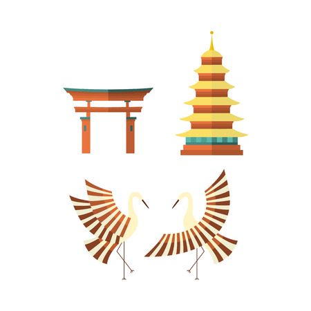 Set of Japanese culture symbols - multi-storied pagoda, crane and torii gate, flat vector illustration isolated on white background. Set of flat Japanese culture icons - pagoda, crane and torii gate