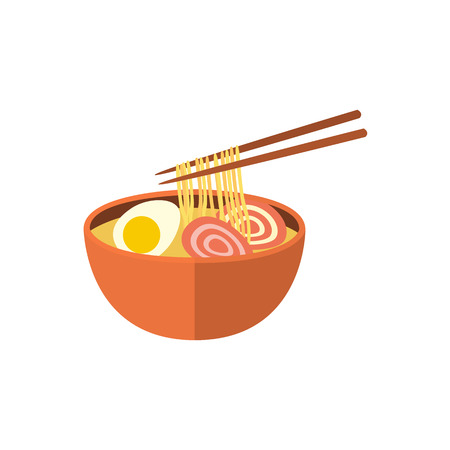 Japanese ramen soup, noodle with boiled egg and pork meat, traditional national food, flat vector illustration isolated on white background. Flat style Japanese ramen, noodle soup and chopsticks Illustration