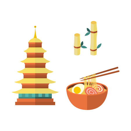 Set of Japanese culture symbols – multi-storied pagoda, egg noodle and bamboo plant, flat vector illustration isolated on white background. Set of flat Japanese culture icons - pagoda, noodle, bamboo