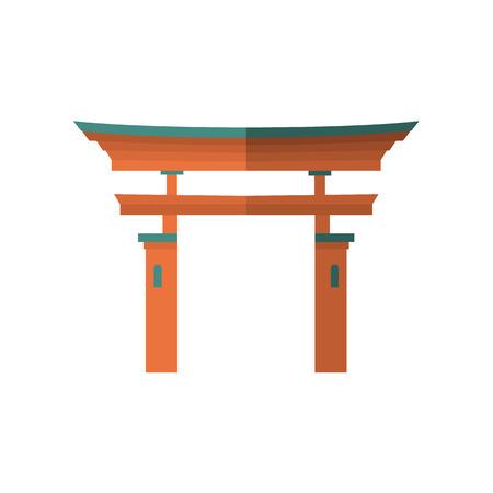Japanese torii gate, national symbol, traditional structure, flat vector illustration isolated on white background. Flat style Japanese torii gate, national symbol, icon Çizim
