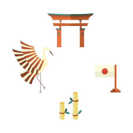 Set of Japanese culture symbols - torii gate, crane, bamboo and flag, flat vector illustration isolated on white background. Set of flat Japanese culture icons - flag, crane, bamboo and torii gate