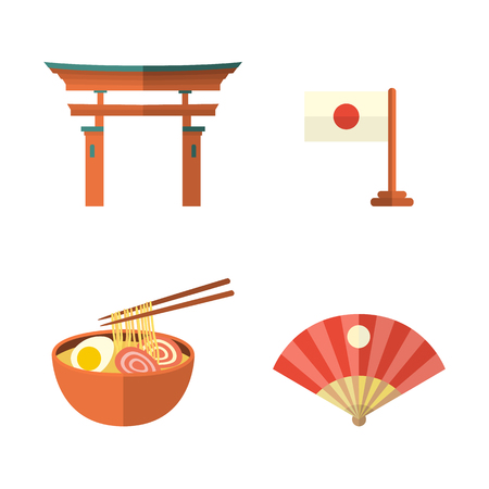 Set of Japanese culture symbols - torii gate, fan, egg noodle and flag, flat vector illustration isolated on white background. Set of flat Japanese culture icons - flag, noodle, fan and torii gate