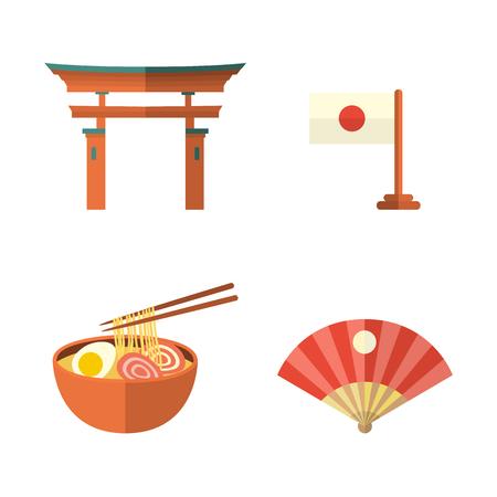 Set of Japanese culture symbols - torii gate, fan, egg noodle and flag, flat vector illustration isolated on white background. Set of flat Japanese culture icons - flag, noodle, fan and torii gate