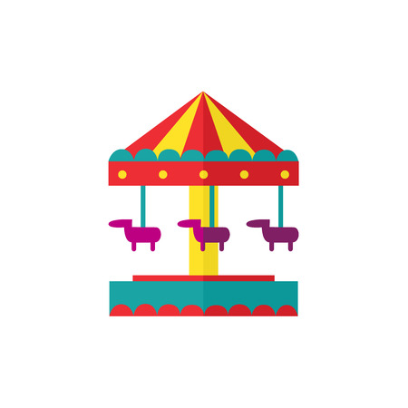 baby toy: vector flat amusement park concept. Merry go round, Funfair carnival vintage flying horse carousel colored icon. Isolated illustration on a white background. Illustration