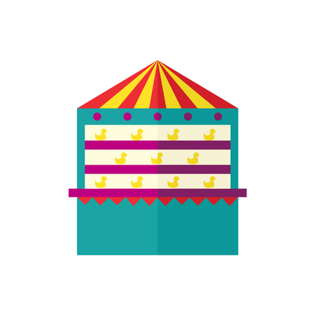 vector flat amusement park concept. Colorful shooting gallery tent from funfair carnival in minimal style icon image. Isolated illustration on a white background.