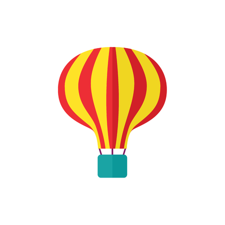 vector flat amusement park concept. Red yellow stripe colored hot air balloon icon, colorful image. Isolated illustration on a white background.