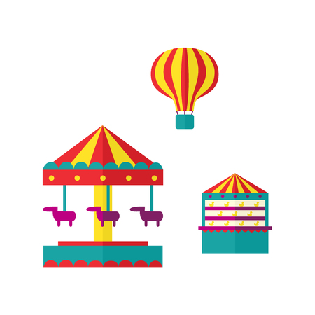 vector amusement park objects icon set. Merry go round, Funfair carnival vintage flying horse carousel, shooting gallery with toys awards, hot air balloon. Isolated illustration on a white background.