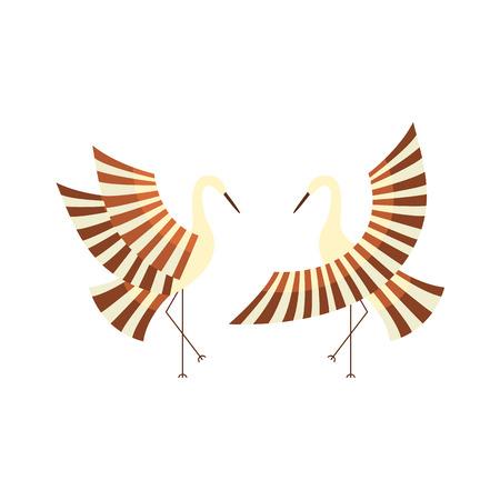 ベクトル フラット漫画スタイル日本の記号概念。定型化された日本の伝統的な鳥 - クレーン羽ばたき翼アイコン画像を設定します。白い背景に分離