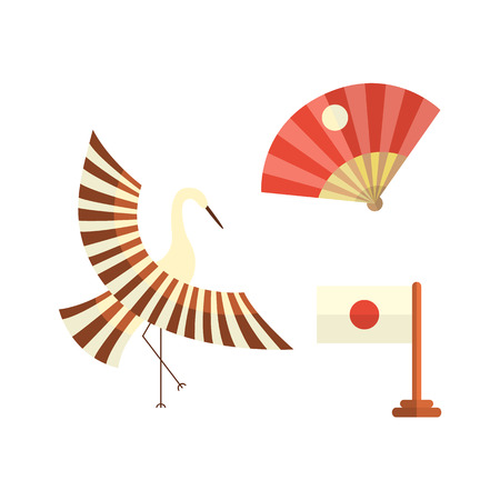 vector flat cartoon japanese symbols concept. Stylized Japan traditional bird cranes flapping wings, folding fan and japanese national flag icon image set. Isolated illustration on a white background Illustration