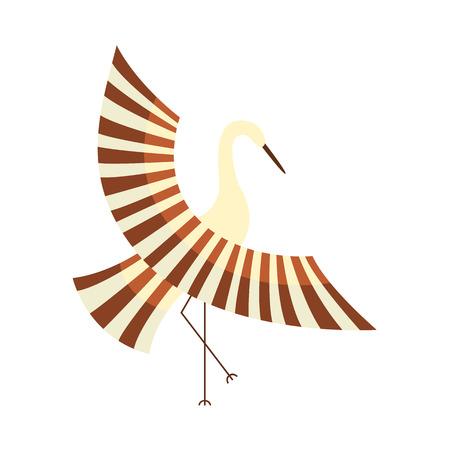ベクトル フラット漫画スタイル日本の記号概念。定型化された日本の伝統的な鳥 - 鶴の羽ばたき翼アイコン イメージ。白い背景に分離の図。