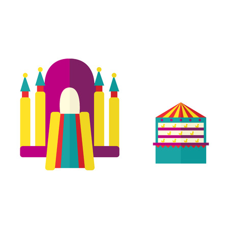 vector flat amusement park objects icon set. Shooting gallery with beara, unicorn toys - awards and inflatable playground, bouncy castle. Isolated illustration on a white background. Ilustracja