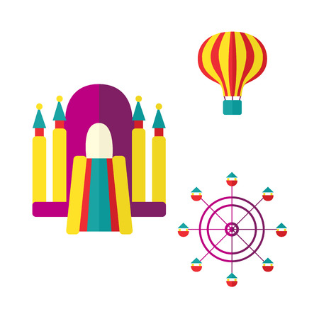 Hot air balloon, bouncy castle and Ferris wheel in amusement park, flat icon set, vector illustration isolated on white background. Flat balloon, inflatable bouncy castle and Ferris wheel icon set Illustration