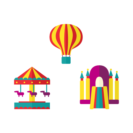 Hot air balloon, bouncy castle and horse carousel in amusement park, flat icon set, vector illustration isolated on white background. Flat balloon, bouncy castle and merry-go-round icon set