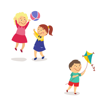Kids, children in the yard - girls playing ball and boy flying a kite, flat cartoon vector illustration isolated on white background. Kids, children, boys and girls, playing ball and flying a kite