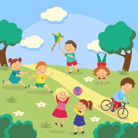 Kids, children playing tag and ball, flying kite, cycling and doing handstand in park, garden, yard, flat cartoon vector illustration. Kids playing in yard, garden, park, outdoor activities Vettoriali