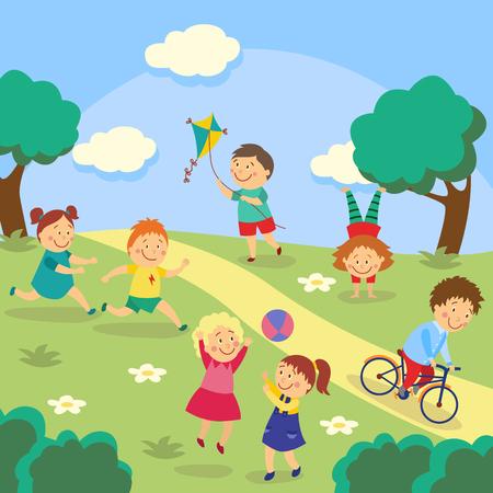 Kinder, Kinder, die Tag und Ball, fliegenden Drachen spielen, radfahren und Handstand im Park, Garten, Yard, flache Karikaturvektorillustration tuend. Kinder spielen im Hof, Garten, Park, Outdoor-Aktivitäten Standard-Bild - 87535211
