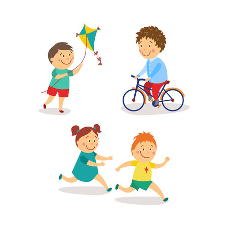 vector flat kids activity in kindergarten set. girl and boy having fun playing catch-up and tag running game, boys launching kite, riding bicycle smiling. Isolated illustration on a white background.
