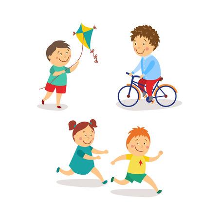 vector flat kids activity in kindergarten set. niña y niño se divierten jugando catch-up y juego de etiqueta, niños lanzando cometa, montar bicicleta sonriendo. Ilustración aislada en un fondo blanco. Ilustración de vector