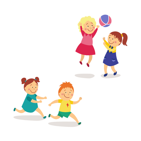 vector flat kids activity in kindergarten set. girl and boy having fun playing catch-up and tag running game, girls play with inflatable ball smiling. Isolated illustration on a white background.