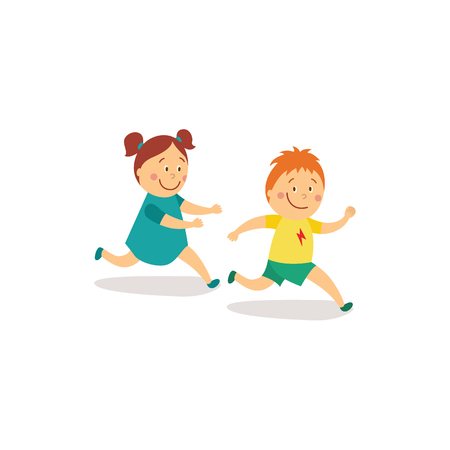 Vector de dibujos animados plana niña y niño niños divirtiéndose jugando a ponerse al día y etiquetando correr juego sonriendo. Actividad de los niños en un concepto de patio. Ilustración aislada sobre un fondo blanco. Ilustración de vector