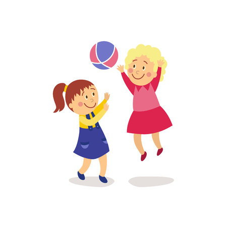 vector flat cartoon girls kids having fun playing with inflatable rubber colorful ball smiling. Children activity in a yard concept. Isolated illustration on a white background.