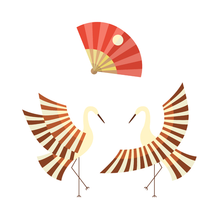 Concept de symboles japonais de style cartoon plat vecteur. Oiseau traditionnel stylisé du Japon - grues battant des ailes et pliant fan image icon set. Illustration isolée sur un fond blanc. Banque d'images - 87535218