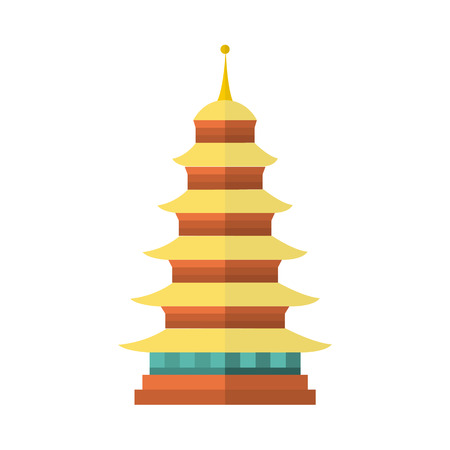 vector flat cartoon style japan symbols concept. Elegant oriental ancient national traditional building - pagoda icon. Isolated illustration on a white background. Illustration