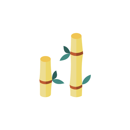 vector flat cartoon style japan symbols concept. Yellow Bamboo stems sticks with green leaves icon image. Isolated illustration on a white background. Illustration