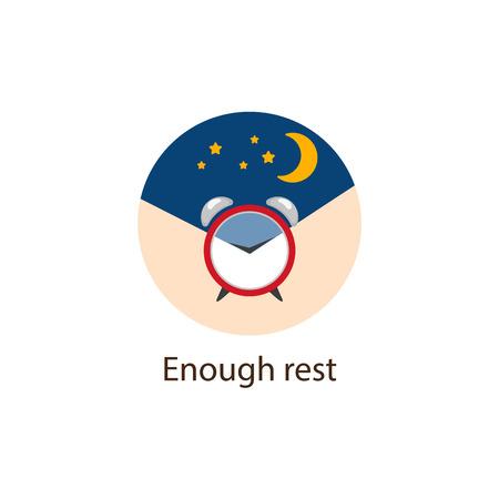 Genug Ruhe runde flache Artikone mit Wecker und dem nächtlichen Himmel und gut schlafen als die Wohlkonzeptvektorillustration lokalisiert auf weißem Hintergrund. Genug Ruhe, rundes Wohlbefinden, Wellness-Symbol Vektorgrafik
