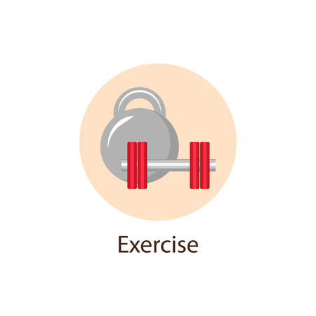 Exercise, Sport round flat style icon with dumbbell and kettle bell, wellbeing concept symbol, vector illustration isolated on white background. Sport, Physical Exercise round wellbeing, wellness icon Ilustração