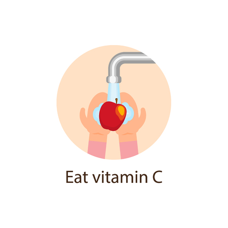 Eat vitamin C, flat style icon with hands washing apple under running tap water, wellbeing, wellness concept, vector illustration isolated on white background. Eat vitamin C flat icon with red apple