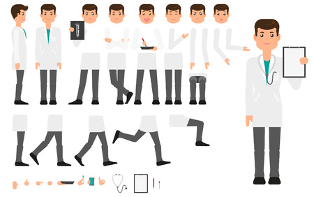 Doctor character creation set with different poses, gestures, faces and tools, flat vector illustration on white background. Doctor, man in white coat creation set, constructor, changeable parts