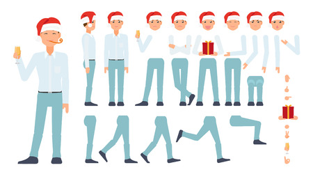 vector flat cartoon business man celebrating christmas, new year holidays creation set. Full lenght different views, emotions poses. Present gift box hat. Isolated illustration on a white background Ilustração