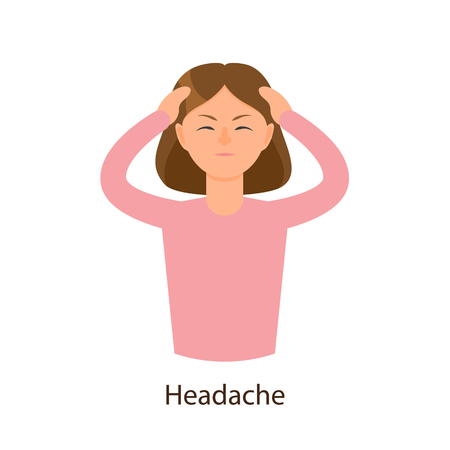 Vector young sick girl suffering from headache, keeping her forehead. Flat isolated illustration on a white background. Illness and disease symptoms concept