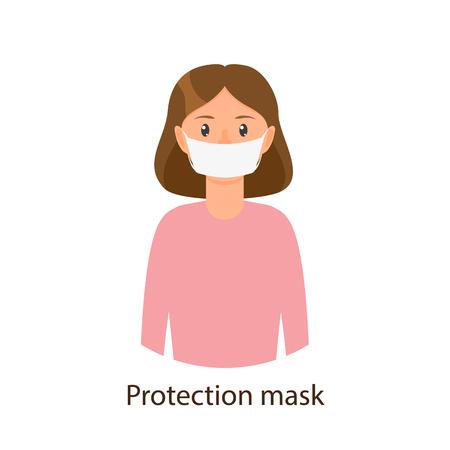 Chica joven de la historieta del vector en el suéter rosado que lleva la máscara de la protección. Ilustración plana aislada sobre un fondo blanco. Concepto de síntomas de enfermedad y enfermedad