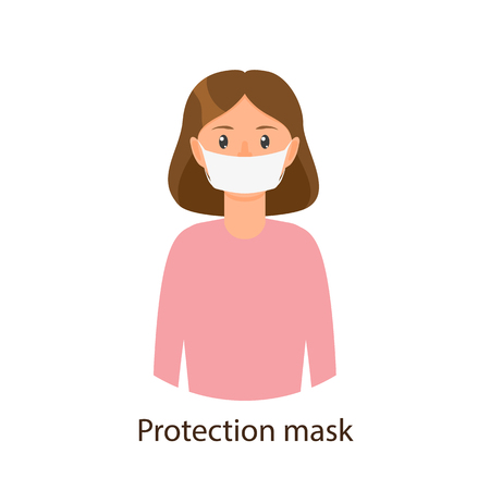 Vector cartoon young girl in pink pullover wearing protection mask. Flat isolated illustration on a white background. Illness and disease symptoms concept