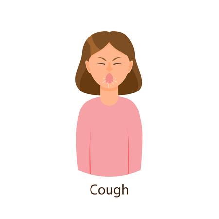 Vector cartoon young sick girl suffering from cough. Flat isolated female character illustration on a white background. Illness and disease symptoms concept